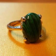 แหวนเงินมาลาไคท์ นำโชคประดับหญิงและชาย size 6 Silver Malachite Ring นำเข้า สีเขียว - พร้อมส่งW825 ราคา450บาท