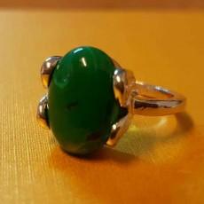 แหวนเงินมาลาไคท์ นำโชคประดับหญิงและชาย size 6 Silver Malachite Ring นำเข้า สีเขียว - พร้อมส่งW826 ราคา450บาท