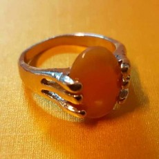 แหวนเงินหินสีเหลือง นำโชคประดับหญิงและชาย size 7 Silver Stone Ring นำเข้า - พร้อมส่งW827 ราคา450บาท