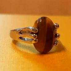แหวนเงินหินตาเสือ นำโชคประดับหญิงและชาย size 7 Silver Tiger Eye Ring นำเข้า - พร้อมส่งW828 ราคา450บาท
