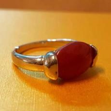 แหวนเงินหินสีแดง นำโชคประดับหญิงและชาย size 9 Silver Stone Ring นำเข้า - พร้อมส่งW829 ราคา450บาท