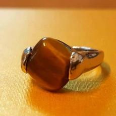แหวนเงินหินตาเสือ นำโชคประดับหญิงและชาย size 7 Silver Tiger Eye Ring นำเข้า - พร้อมส่งW831 ราคา450บาท