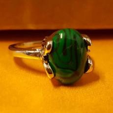 แหวนเงินมาลาไคท์ นำโชคประดับหญิงและชาย size 9 Silver Malachite Ring นำเข้า สีเขียว - พร้อมส่งW832 ราคา450บาท