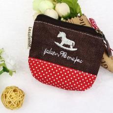 กระเป๋าสตางค์ใส่เหรียญใบเล็ก แฟชั่นเกาหลีแบบผ้าลายจุดน่ารัก นำเข้า สีแดงน้ำตาล - พร้อมส่งW871 ราคา59บาท