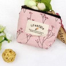 กระเป๋าสตางค์ใส่เหรียญใบเล็ก แฟชั่นเกาหลีแบบผ้าลายต้นไม้ นำเข้า สีชมพู - พร้อมส่งW872 ราคา59บาท