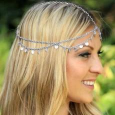 ที่คาดผมเกาหลี แฟชั่นโบฮีเมียสายโซ่คาดศีรษะ Head Chain Headband นำเข้า สีเงิน - พร้อมส่งW881 ราคา250บาท