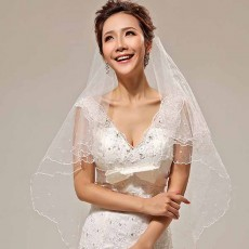 ผ้าคลุมผมเจ้าสาว เวลเจ้าสาว Bridal Veil ผ้าคลุผมเจ้าสาวแต่งมุก สีขาว - พร้อมส่งW887 ราคา250บาท