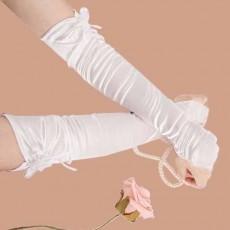 ถุงมือเจ้าสาว เปิดนิ้วแต่งดอกไม้ผ้าซาตินเข้าชุดแต่งงานเรียบหรู มีสีขาวและขาวครีม นำเข้า - พร้อมส่งW892 ราคา250บาท