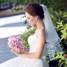 ผ้าคลุมผมเจ้าสาว เวลเจ้าสาว Bridal Veil ผ้าคลุผมเจ้าสาวแบบเรียบหรู สีขาว - พร้อมส่งW906 ราคา250บาท