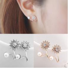 ต่างหูคลิปแฟชั่นเกาหลีมุกคริสตัลหนีบใบหูสวย2ชิ้น CRYSTAL PEARL CLIP EAR CUFF STUD EARRING นำเข้า สีทอง - พร้อมส่งBE0054 ราคา300บาท