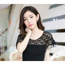 ผ้าคลุมไหล่ ชุดราตรีแฟชั่นเกาหลี คอตตอนผสมลูกไม้สวยหรูหรา สีดำ - พร้อมส่งYA003 ราคา380บาท