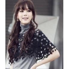 ผ้าคลุมไหล่ ชุดราตรีแฟชั่นเกาหลี คอตตอนถักลาย6เหลี่ยมสวยหรูหรา สีดำ - พร้อมส่งYA005 ราคา380บาท
