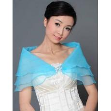 ผ้าคลุมไหล่ ผ้าแก้วสำหรับชุดแต่งงานและราตรีแฟชั่นเกาหลีสีฟ้าสวยหรูหรา - พร้อมส่งYA010 ราคา400บาท
