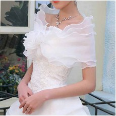ผ้าคลุมไหล่ ผ้าแก้วสำหรับชุดแต่งงานและราตรีแฟชั่นเกาหลีสีขาวสวยหรูหรา - พร้อมส่งYA011 ราคา400บาท