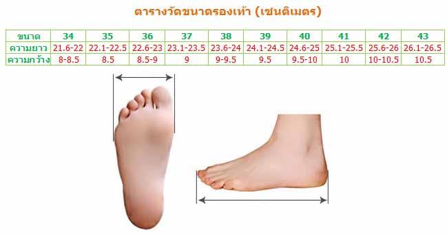 ตารางวัดขนาดรองเท้าแฟชั่นเกาหลี ร้านLOTUSNOSS โลตัสโนสส