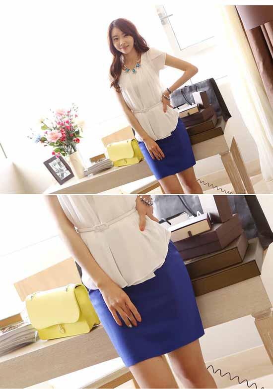 เสื้อชีฟองแขนสั้น แฟชั่นเกาหลี นำเข้า สีขาว - พรีออเดอร์