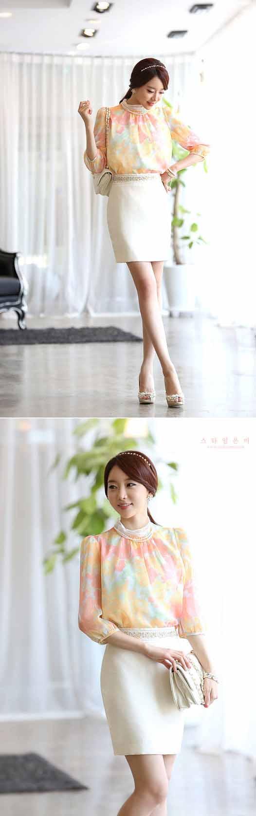 กระโปรงทำงาน แฟชั่นเกาหลีสวยนำเข้า สีขาว - พรีออเดอร์