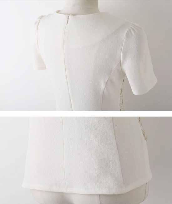 เสื้อเชื้ตลูกไม้ แฟชั่นทำงานสไตล์เกาหลี นำเข้า สีขาว - พรีออเดอร์