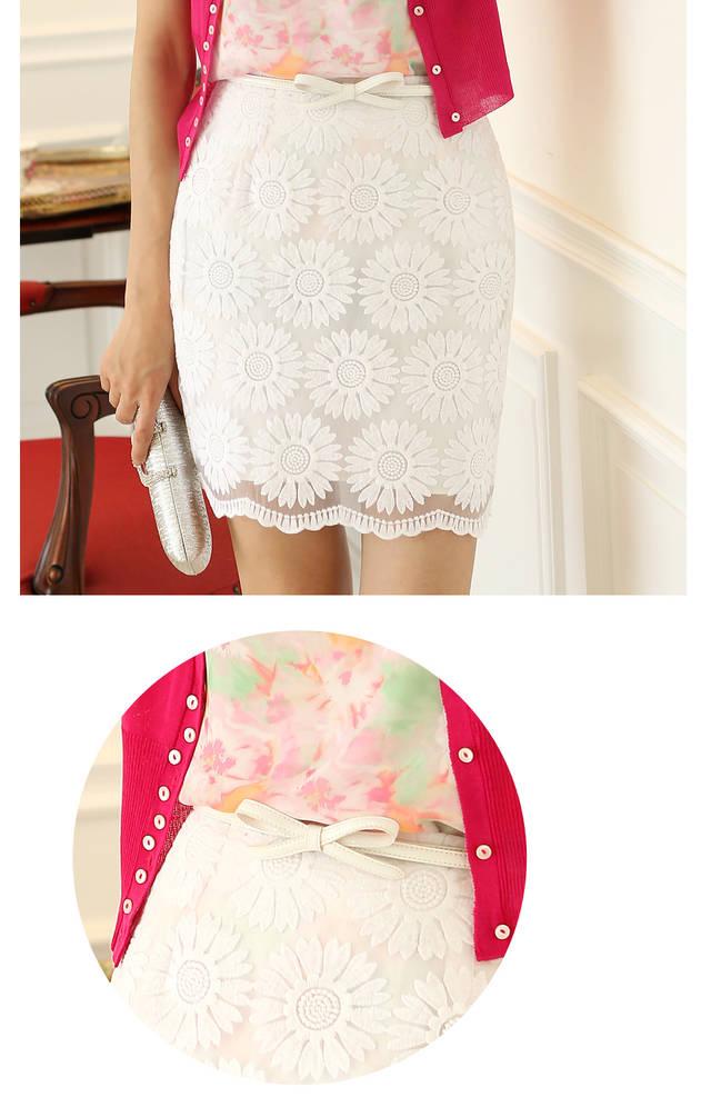 กระโปรงลูกไม้ แฟชั่นเกาหลีสวยอินเทรนด์ นำเข้า  สีขาว - พรีออเดอร์
