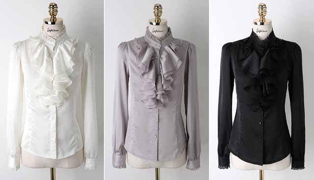 เสื้อเชิ้ต แฟชั่นเกาหลีระบายลูกไม้สวยหรู นำเข้า ไซส์MถึงXL