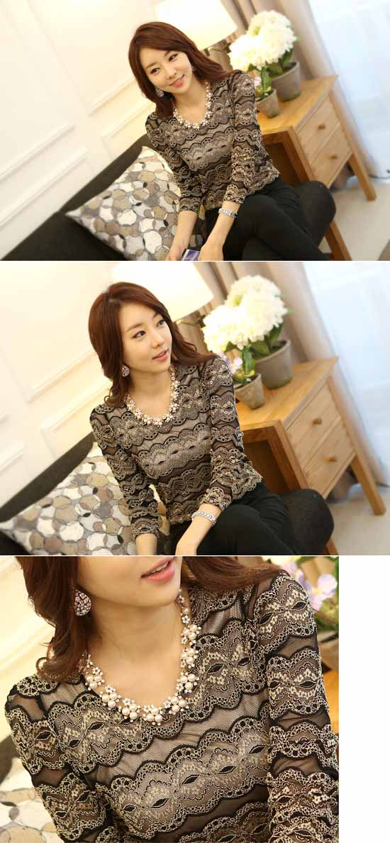 เสื้อลูกไม้ แฟชั่นเกาหลีแขนยาวเนื้อผ้าสวย นำเข้า ไซส์SถึงXL