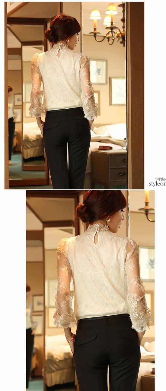 เสื้อลูกไม้ แฟชั่นเกาหลีคอตั้งหรูหรามีระดับ นำเข้า ไซส์Sถึง2XL