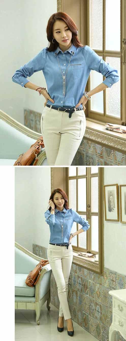 เสื้อเชิ้ต แฟชั่นเกาหลีแบบเสื้อยีนส์แขนยาวสวยทันสมัย นำเข้า ไซส์Lถึง2XL - พร้อมส่งBM2536 ราคา1050บาท