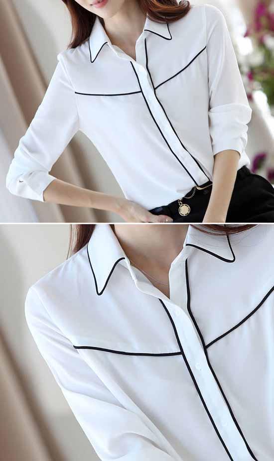 เสื้อเชิ้ต แฟชั่นเกาหลีชีฟองแขนยาวสวยใหม่ นำเข้า ไซส์Sถึง2XL สีขาว