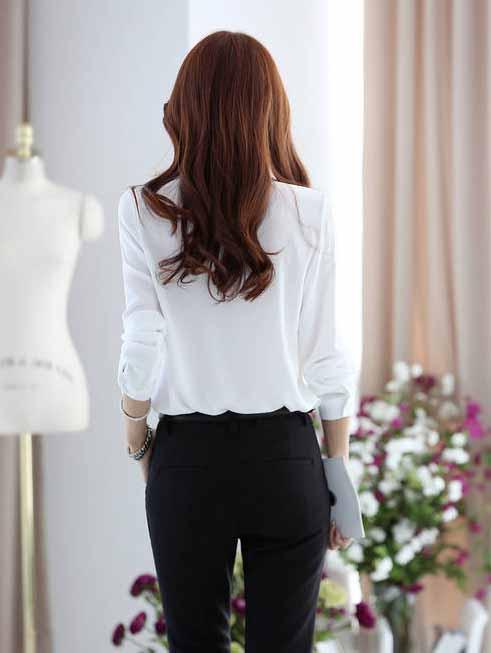เสื้อเชิ้ต แฟชั่นเกาหลีชีฟองแขนยาวสวยใหม่ นำเข้า ไซส์Sถึง2XL