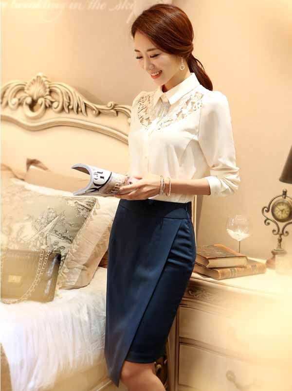 เสื้อเชิ้ตแขนยาว แฟชั่นเกาหลีผ้าชีฟองแต่งลูกไม้สวยใหม่ นำเข้า ไซส์Sถึง2XL สีขาว - พรีออเดอร์BM2608 ราคา1350บาท