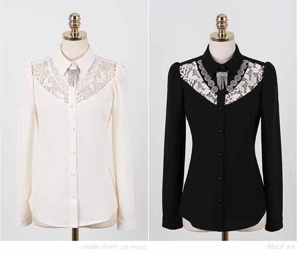 เสื้อเชิ้ตแขนยาว แฟชั่นเกาหลีผ้าชีฟองแต่งลูกไม้สวยใหม่ นำเข้า ไซส์Sถึง2XL สีดำ - พรีออเดอร์BM2608 ราคา1350บาท
