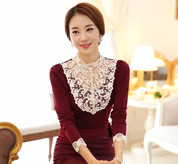 เสื้อลูกไม้แขนยาว แฟชั่นเกาหลีคอตั้งใส่ไปงานแต่งงานราตรีหรูเทรนด์ใหม่ นำเข้า ไซส์XLถึง2XL สีแดง - พร้อมส่งBM2609 ราคา1250บาท