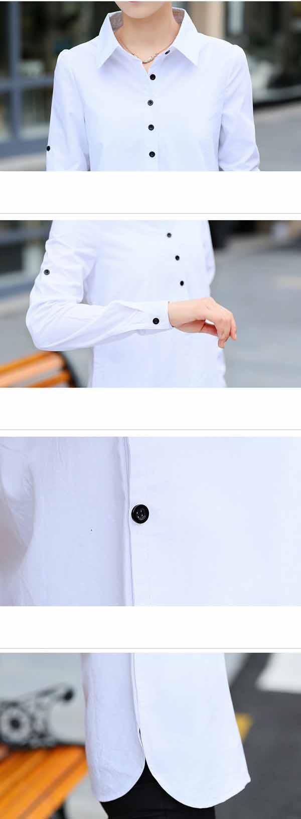 เสื้อเชิ้ต แฟชั่นเกาหลีสวยแขนยาวทำงานตัวยาวสไตล์วินเทจหรู นำเข้า ไซส์XXL สีขาว - พร้อมส่งBM2647 ราคา1190บาท