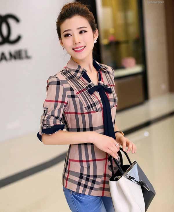 เสื้อเชิ้ตผู้หญิง แขนยาวผ้าชีฟองลายตารางแฟชั่นเกาหลีพร้อมโบว์ นำเข้า ไซส์XL สีดำแดง - พร้อมส่งBM2648 ราคา1400บาท