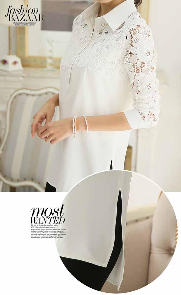 เสื้อลูกไม้ชีฟองแขนยาว แฟชั่นเกาหลีตัวยาวสไตล์หลวมแคชชวล นำเข้า ไซส์XL สีขาว - พร้อมส่งBM2671 ราคา1390บาท
