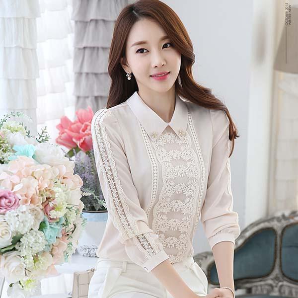 เสื้อลูกไม้ชีฟอง แฟชั่นเกาหลีแขนยาวคอปกหรูหราสวยใหม่ นำเข้า ไซส์L สีชมพูอ่อน - พร้อมส่งBM2681 ราคา1350บาท