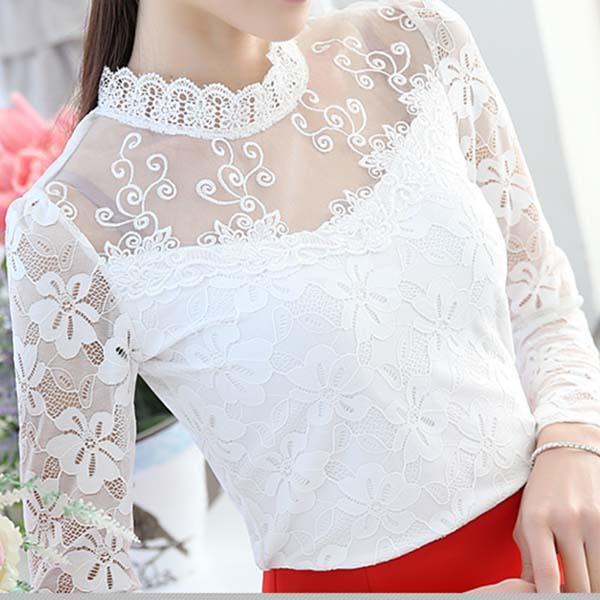 เสื้อลูกไม้แขนยาว แฟชั่นเกาหลีคอตั้งลายดอกไม้ใหม่สวยเนื้อนุ่ม นำเข้า ไซส์XL สีขาว - พร้อมส่งBM2682 ราคา1300บาท