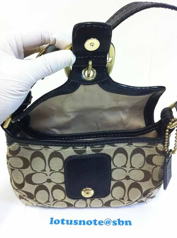 COACH Bleeker Signature Small Flap Hobo Shoulder Bag Purse Black ของแท้มือสองจากอเมริกา พร้อมส่ง ราคา2590บาท