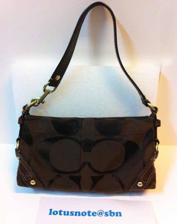 COACH Signature Carly Small Handbag Purse Brown Canvas&Leather ของแท้มือสองจากอเมริกา พร้อมส่ง ราคา2750บาท