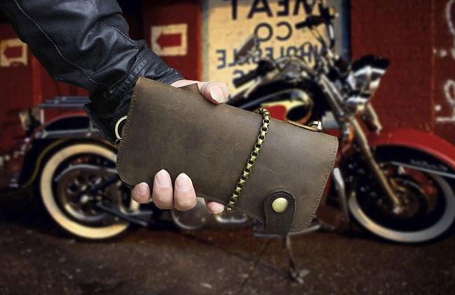 กระเป๋าสตางค์ผู้ชายใบยาวแฮนด์เมด สไตล์เรโทร พร้อมสายโซ่ หนังแท้ 100% - พรีออเดอร์F045 ราคา3000บาท