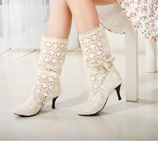 รองเท้าบู๊ทลูกไม้ แฟชั่นเกาหลี สไตล์ผ้าถักสวยใส่สบาย นำเข้า - พรีออเดอร์HS116-4 ราคา1550บาท