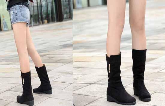 รองเท้าบู๊ท แฟชั่นเกาหลี สไตล์หนังกลับสวยใส่สบาย นำเข้า - พรีออเดอร์HS129-9