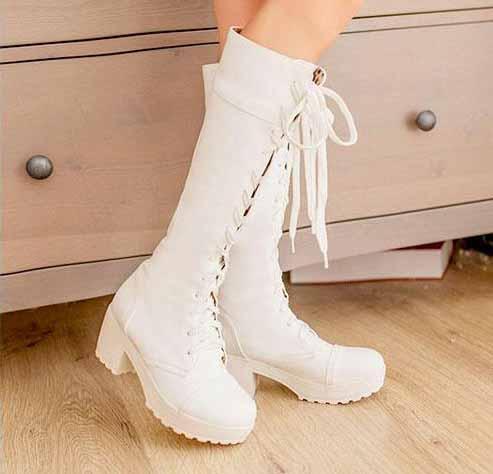 รองเท้าบู๊ท ส้นหนาแฟชั่นเกาหลี
