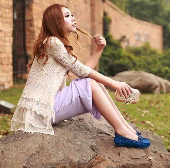 รองเท้าส้นเตี้ย หนังกลับแฟชั่นเกาหลีใหม่เพื่อสุขภาพ นำเข้า - พรีออเดอร์