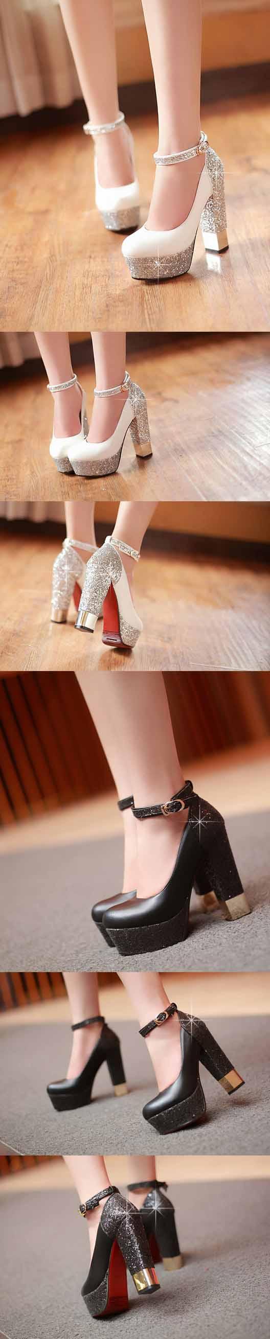 รองเท้าส้นสูง แฟชั่นเกาหลีมีกากเพชรออกงาน นำเข้าไซส์34ถึง38