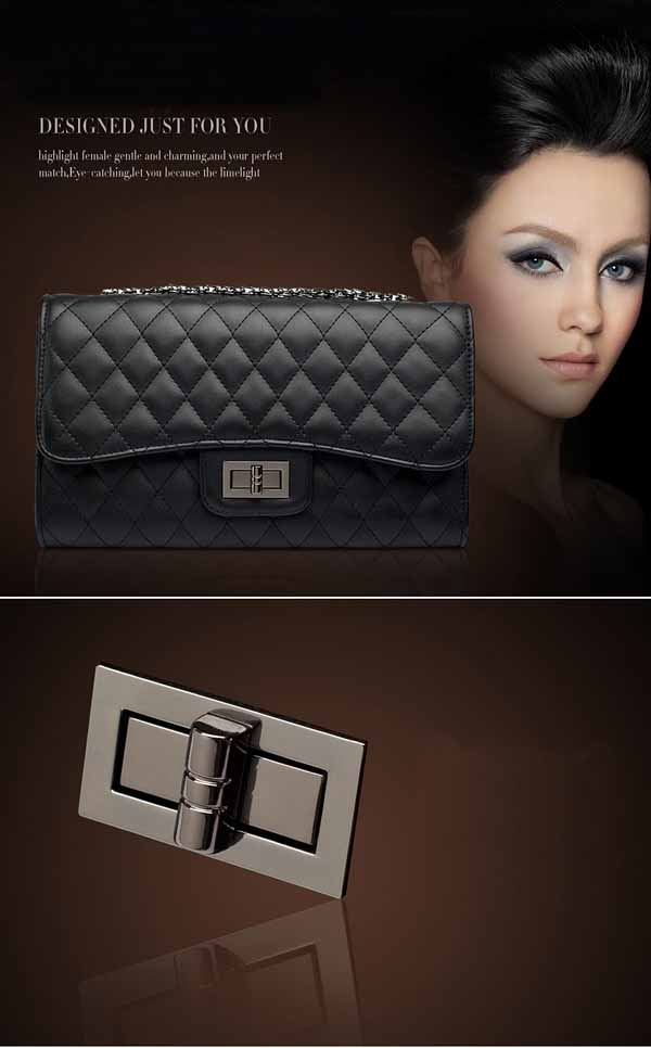 กระเป๋าหนังแท้ผู้หญิง สายโซ่สีดำแฟชั่นสะพายออกงานหรูหราถือทำงานสวยสไตล์แบรนด์ นำเข้า - พร้อมส่งIS1002 ราคา1990บาท