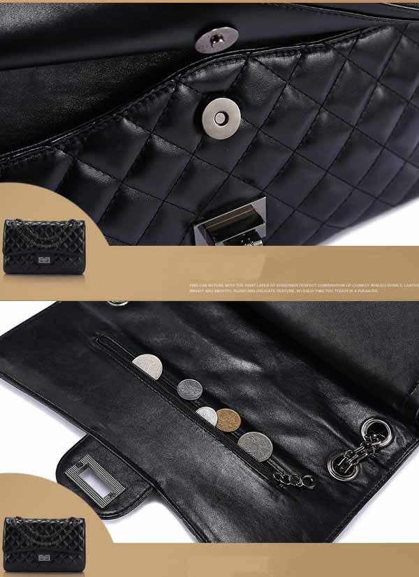 กระเป๋าหนังแท้ผู้หญิง สายโซ่สีดำแฟชั่นสะพายออกงานหรูหราถือทำงานสวยสไตล์แบรนด์ นำเข้า - พร้อมส่งIS1002 ราคา2900บาท