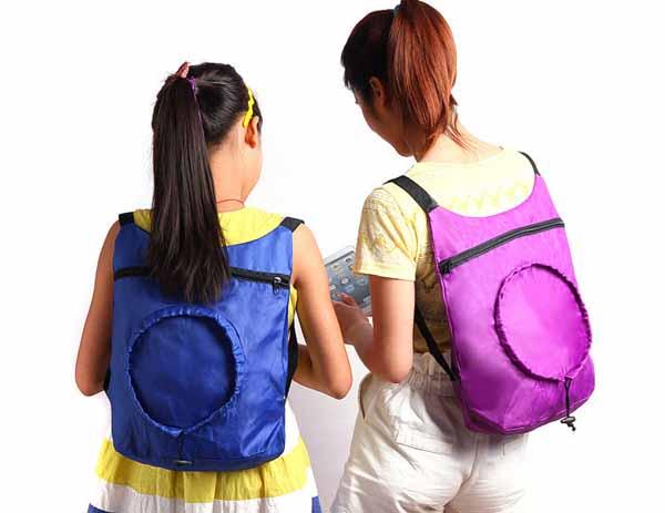 กระเป๋าเป้ สะพายหลังแฟชั่นเกาหลีผ้าร่มอินเทรนด์ขนาดกำลังดีน่ารัก นำเข้า สีม่วง - พร้อมส่งIS1010 ราคา129บาท