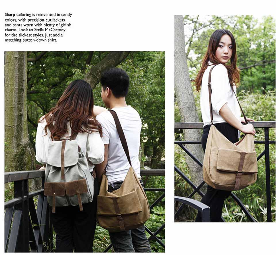 กระเป๋าสะพายข้าง แฟชั่นเกาหลีผ้าคานวาสใบใหญ่เที่ยวเดินทางใช้ได้ทั้งชายหญิง นำเข้า สีเทส - พร้อมส่งIS1013 ราคา670บาท