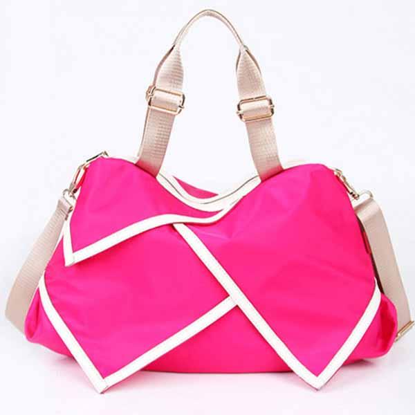 กระเป๋าสะพายผ้าไนลอน แฟชั่นเกาหลีผู้หญิงใบใหญ่มีสายยาวใส่ของได้3ช่อง นำเข้า สีชมพู - พรีออเดอร์IS1026A ราคา1250บาท